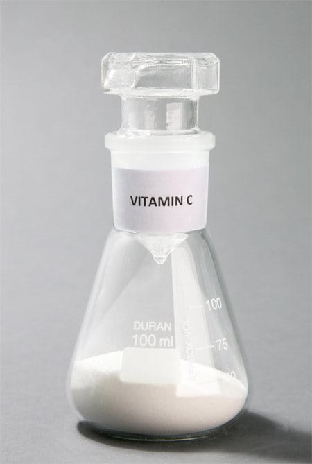 conical flask with Vitamin C