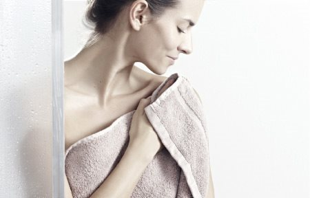 Gently pat dry sensitive skin after showering