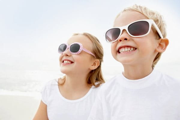 Sun protection for children should include sunglasses