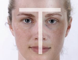Woman´s face with combination skin