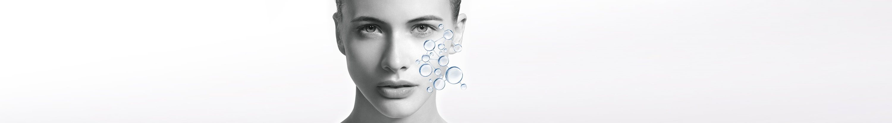 Woman's face with illustration of skin's own hydration system